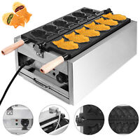 Commercial Taiyaki Maker Electric Fish Waffle Machine 6Pcs Nonstick 3000W Steel