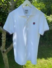 Mens Short Sleeve Stripe Tipped Polo Shirt in White Casual Cotton S-XXL SSAFA