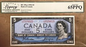1954 Bank of Canada $5 Replacement Note - Legacy Gem New 65 PPQ - S/N:Y/C7579525