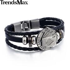 Black Handmade Leather Bracelet Poker Flush Bead Charm Wristband Rope Men Women