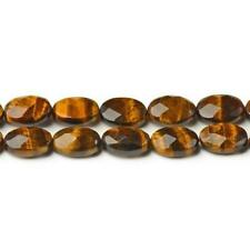 Tiger Eye Faceted Oval Beads 12x16mm Yellow/Brown 20+ Pcs Gemstones Jewellery