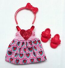 Barbie Chelsea Kelly Doll Clothes Valentine Red Pink Heart Dress Headband shoes