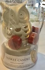 Yankee  Candle Apple Pumpkin Set Owl Luminary Holder & Four Tea Candles New
