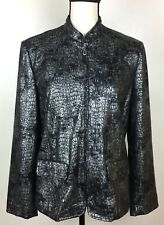 Alfred Dunner Women's Jacket Size 10 Black Silver Faux Snakeskin Print Zip Front