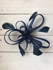 Navy Blue Feather Fascinator Hair Clip Ladies Day Races Party Wedding
