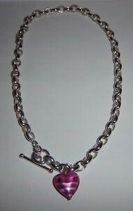 Kay Jewelers OTC Sterling Silver 925 Murano Glass Heart Charm Choker Necklace