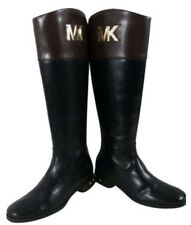 Michael Kors Hayley Black/Brown Two Tone Leather Side Zip Riding Boots Sz 5 M