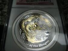 2012-P Australia Gilt 1 Oz Silver Lunar Series 2 Year MS 70