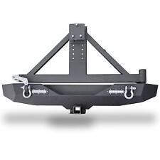 JK Rock Crawler Rear Bumper w/LED w/Tire Carrier Black for 07-17 Jeep Wrangler