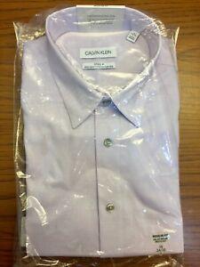 Calvin Klein Steel + Regular Fit Stretch Non-Iron Button Up Dress Shirt NWT