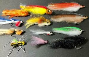 1 DOZEN BASS, PIKE and MUSKY FLIES by HARELINE. FLY FISH STREAMER TOP WATER. NEW