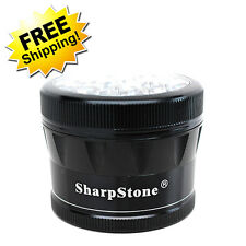 "Sharpstone Grinder V2 Herb & Tobacco (Large) - 2.5"" in 4-Piece Clear Top Black"