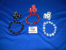 NEW 3 DICE BRACELETS AND 9 16MM OPAQUE DICE RED, BLACK AND WHITE FREE SHIPPING