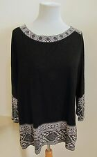 Lucky Brand Black Tunic Top Large L Embroidered Print Tie Back 3/4 Sleeve Knit