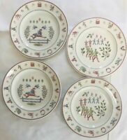 SET OF 4 Twelve Days of Christmas Dessert Salad Plates Johnson Brothers 8-3/4""