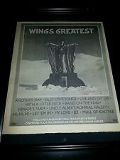 Paul McCartney and Wings Greatest Hits Rare Original Promo Poster Ad Framed!