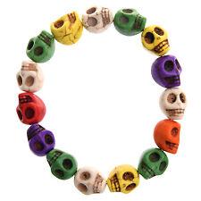 Cool Howlite Turquoise Skull Beads Buddhist Prayer Bracelet Mala for Women