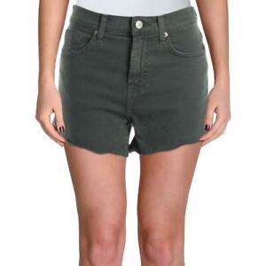 7 For All Mankind Womens Green High Rise Cut Off Denim Shorts 32 BHFO 3278