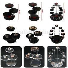 Acrylic Jewelry Ring Earrings Bracelet Round Table Holder Stand Display Rack UK