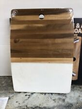 """Marble & Acacia Wood Serving Board Core Kitchen 16"""" X 12"""" New"""