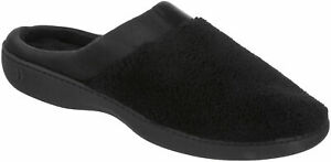 Isotoner Womens Microterry Satin Clog Slippers