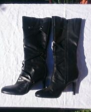 Dorothy Perkins Leather Stiletto Heeled Knee Boots UK7 EU40 Black Pirate Wrap
