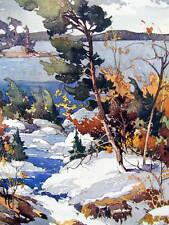 Vintage art Garnet Hazard Canada Winter Stream Trees scene