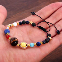 Universe Solar System Galaxy Eight Planets Stone Beads Braided Bracelet Gift ID