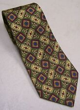 Barneys New York Neck Tie Necktie Green Maroon Gold Yellow Blue Flower Silk