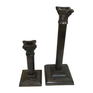 Candle Stick Heavy Brass Bronzed Taper Candle Holders Set of 2 Roman Column