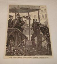 1877 magazine engraving ~ QUEEN VICTORIA Recieving Soldiers