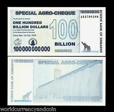 ZIMBABWE 100000000000 (100 BILLION) DOLLARS P64 2008 AB ZEBRA UNC MONEY BANKNOTE