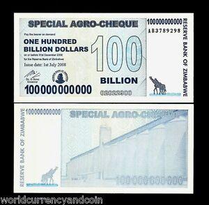 ZIMBABWE 100000000000 (100 BILLION) DOLLARS P64 2008 AB ZEBRA UNC MONEY BANKNOTE