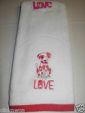 One Happy Valentine's Day Holiday Bathroom Hand Towel Cute Dalmatian Heart Love