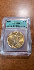 1927 $20 gold double eagle.  ICG MS62