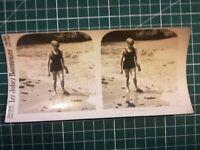 QQ025 Photo stéréoscopique les jolies baigneuses Circa 1930 femmes maillot bain