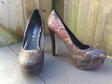 NEW LOOK USED TWO TONE SHIMMER FAUX SNAKESKIN PREMIUM HEELS 5.5 INCHES 7UK/EUR40