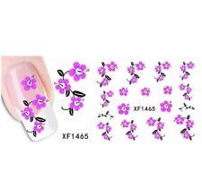 Purple Pink Flowers Nail Art Sticker Decal Decoration Manicure Water Transfer