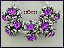 5 Purple Rhinestone Antique Silver Spacers fits European Charm Bracelets R158