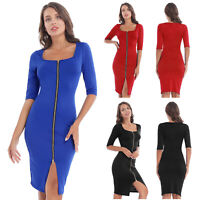 Women Club Sexy Bodycon Midi Long Zipper Front Dress Party Cocktail Evening Prom