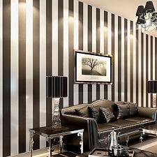 BLACK & Beige STRIPE WALL PAPER ROLLS DESIGNER FEATURE WALLPAPER TV BACKGROUND