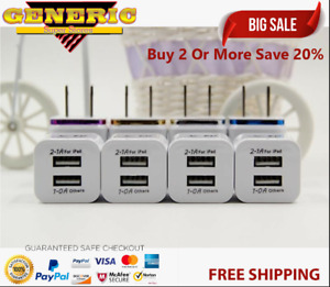 4-Pack Dual USB Port Wall Charger AC Power adapter US Plug For iPhone Samsung Lg