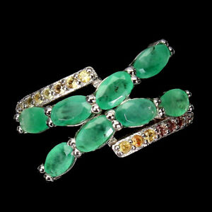 Unheated Oval Emerald 5x3mm Sapphire Diamond Cut 925 Sterling Silver Ring 6