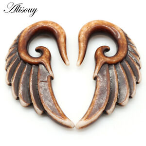 2pcs Spiral Acrylic Heart Wing Feathers Piercing Ear Plugs Taper Expander
