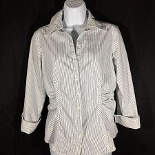 Black And White Striped Shirt Cinched Front Back Size Small Stretch