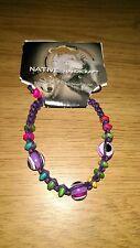 Native artigianali Corda Bracciale-Viola Corda E Perline Multicolore