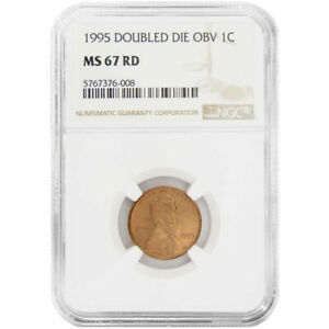1995 1c Lincoln Double Die Obverse NGC MS67 RD