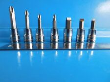 """SNAP ON 3/8 DR. PHILLIPS,POZI,FLAT BITS, EXCELLENT CONDITION, LOT OF """"7"""" ,USED"""