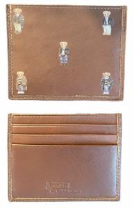 Polo Ralph Lauren (Polo Bear) 5 Bears Slim Card Case Wallet Brown Leather NIB⭐️
