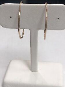 14k Rose Pink Gold Polished Endless Hoop Earrings